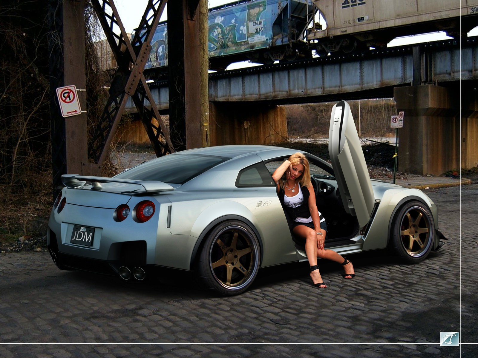 nissan gt r with supery woman white nissan gt r