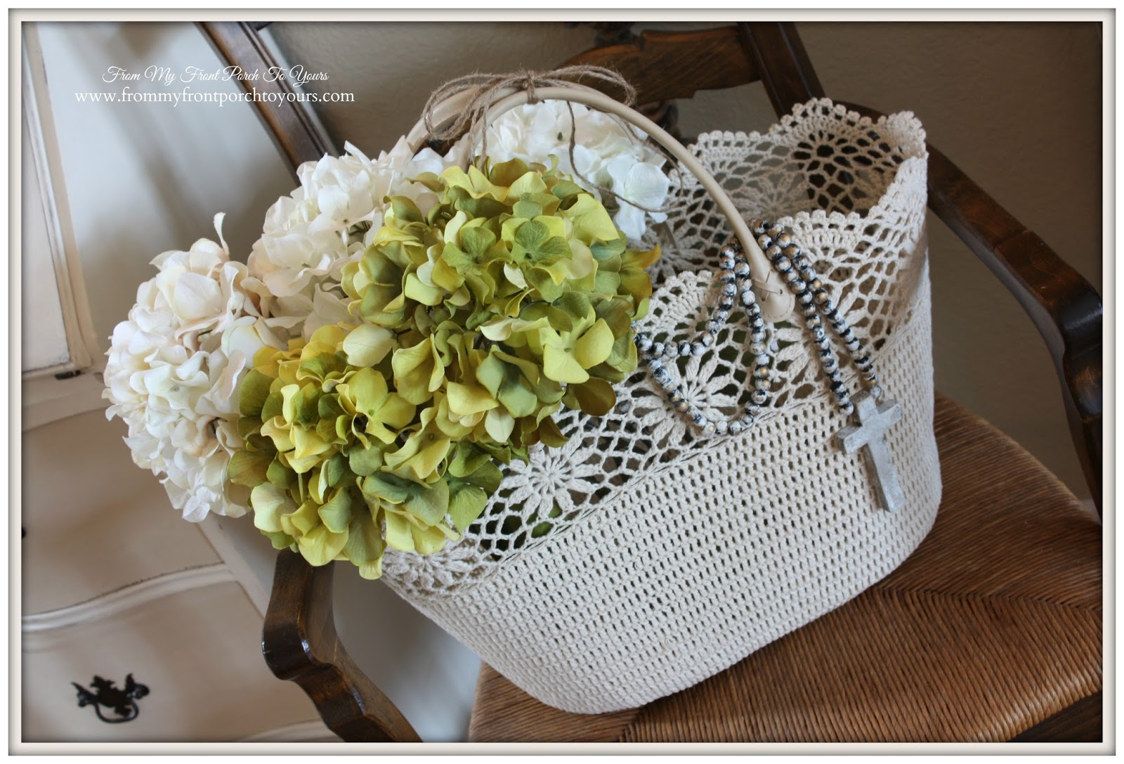 Faux Hydrangea Flowers from Hobby Lobby and Michaels add a spring feel over at From My Front Porch To Yours.