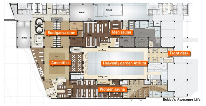 Bobby 39 s awesome life the spa in garden 5 for Sauna layouts floor plans