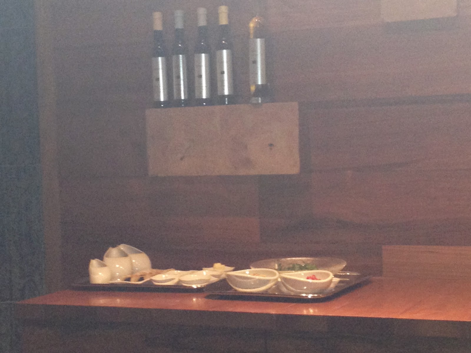 The kitchen bench behind the chef