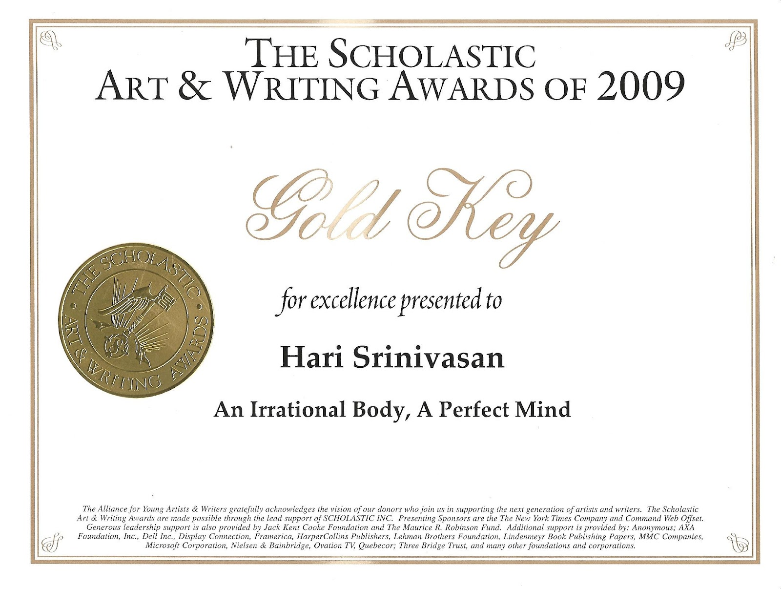 Hari's Blog: Scholastic Writing Awards