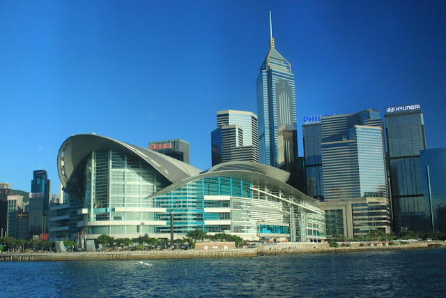 Hong Kong Convention and Exhibition Centre is a major landmark on the Hong Kong Island in Hong Kong