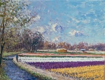 Figure by an Expansive Field of Flowers