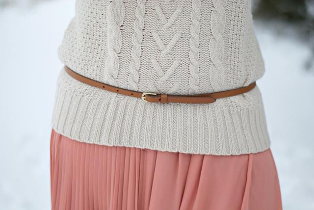 belt on knit sweater