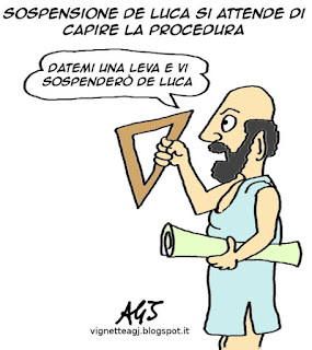 De Luca, sospensione, satira vignetta