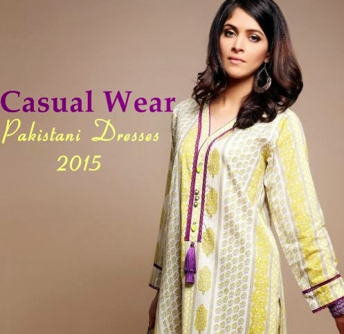 Pakistani Fashion Designer Clothes 2015 Casual Wear Dresses