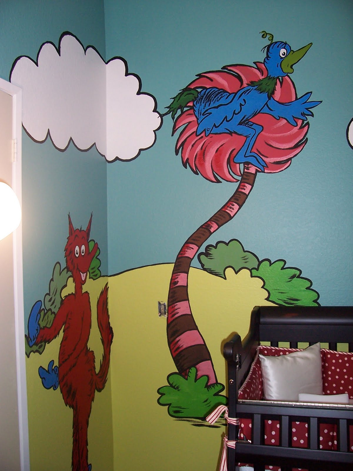 creatively quirky at home dr seuss nursery mural i was planning on making a growth chart for the fox in the socks to hold but never got around to it