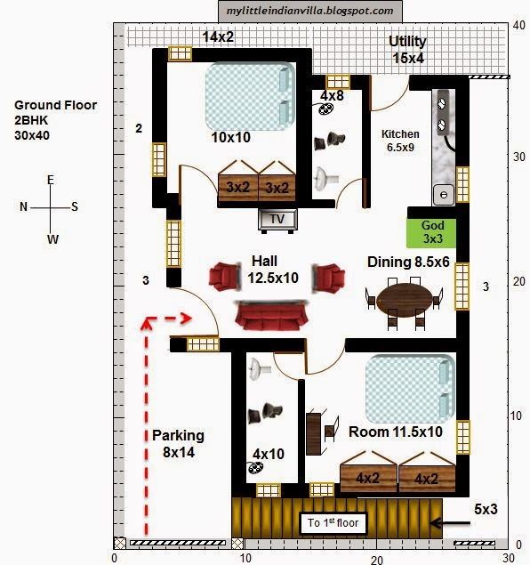 My little indian villa 25 r18 2 houses 2bhk in 30x40 Indian villa floor plans