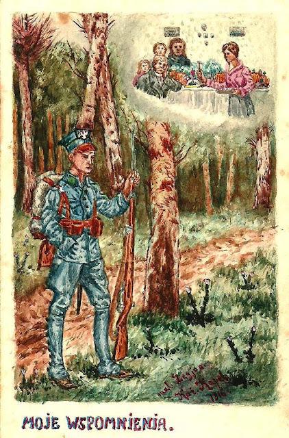 Pocztówka I strona, namalowana przez Kazimierza Kapla. Korespondencja z 1916 roku. Ze zbiorów Edwarda Tylmana