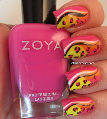 Bright and colorful leopard nail art