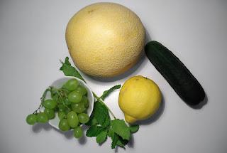 zumo de uva, menta y melón - ingredientes