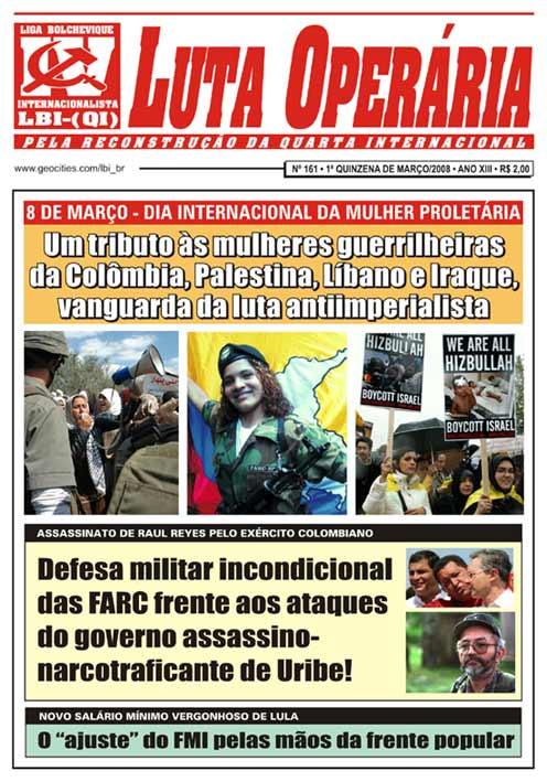 JORNAL LUTA OPERÁRIA Nº 161, 1ª QUINZENA DE MARÇO/2008