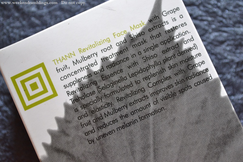 thann revitalizing face mask shiso grapefruit mulberry radiance review