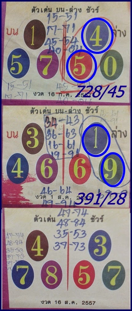 Thai lottery 3up and Down Touch Tip Paper 16-08-2014