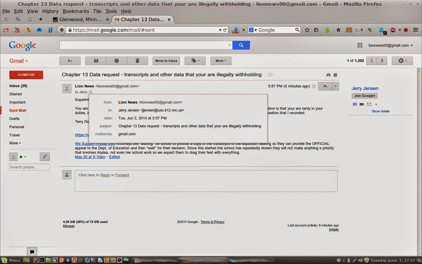 how to send unofficial transcript by email