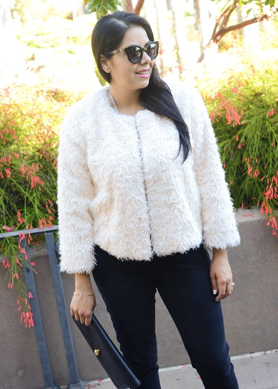 cabi blogger, cabi furry coat, cabi jacket, how to wear a furry coat