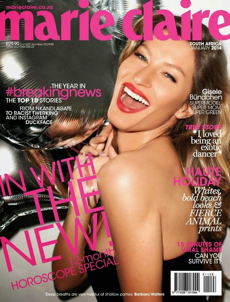 Magazine Photoshoot : Giselle Bundchen Photoshot For Marie Claire Magazine South Africa January 2014 Issue