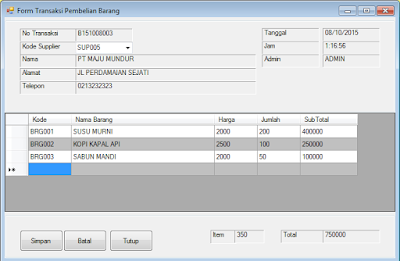 Download Gratis Aplikasi Pembelian VB .Net - Database SQL Server