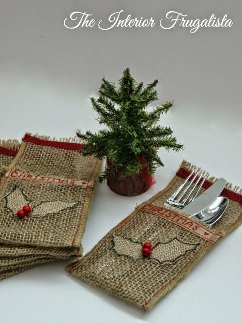 DIY natural burlap, holiday ribbon, and holly flatware pouches View 1