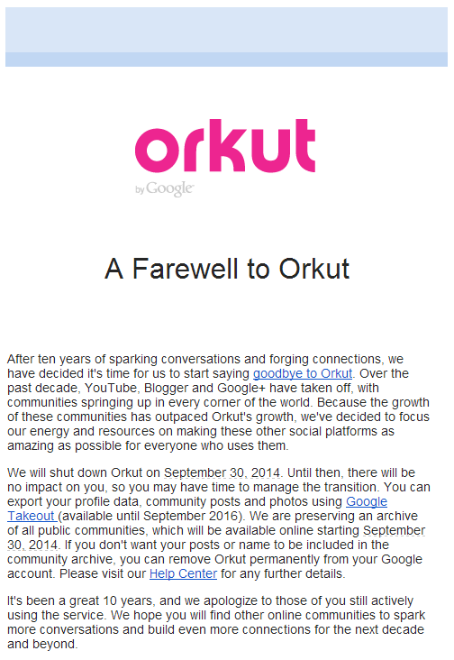 Good Bye to Orkut - Google Official Announcement