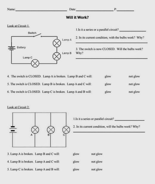 Teaching the Kid Series or Parallel Circuits – Parallel and Series Circuits Worksheet