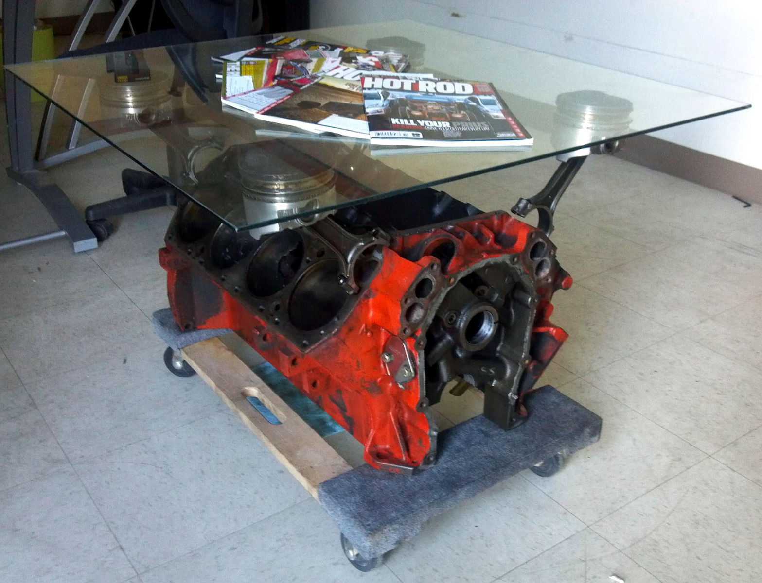 Car Engine Coffee Table Perform Like His Pro Touring Road Runner
