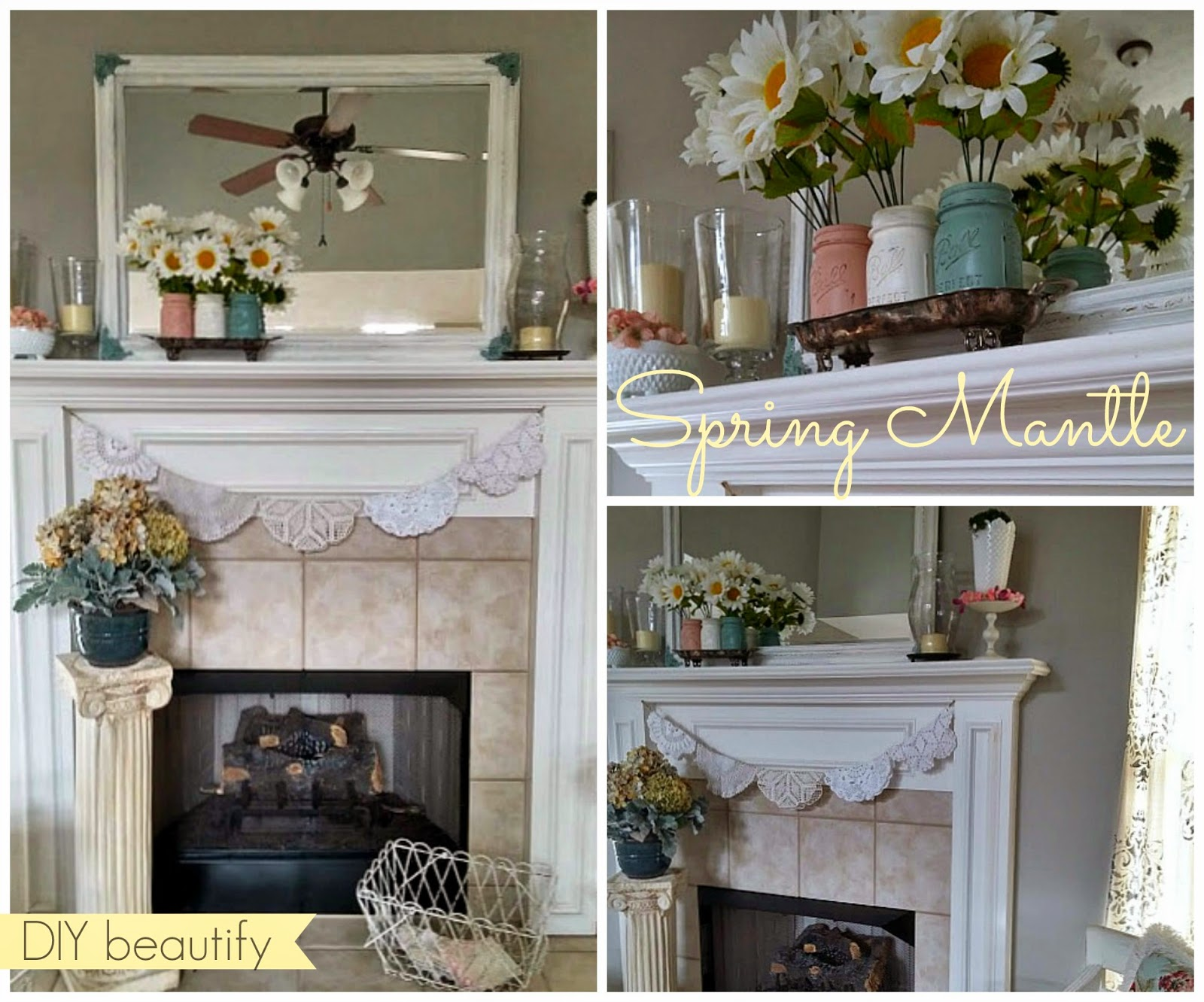 Spring Mantle with Vintage Doily Bunting www.diybeautify.com
