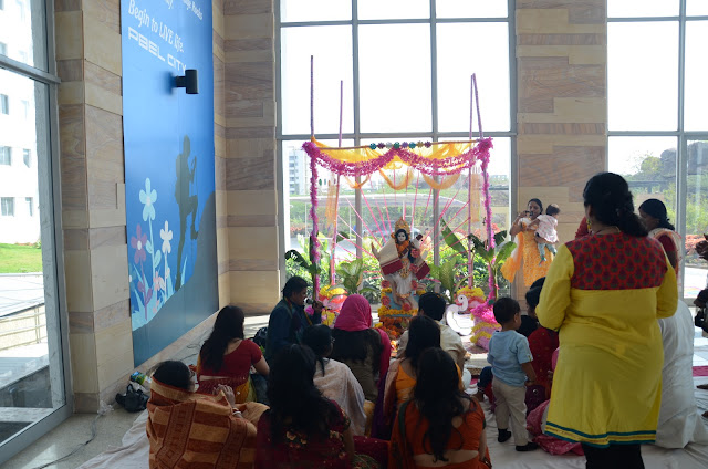 women attending saraswati pooja