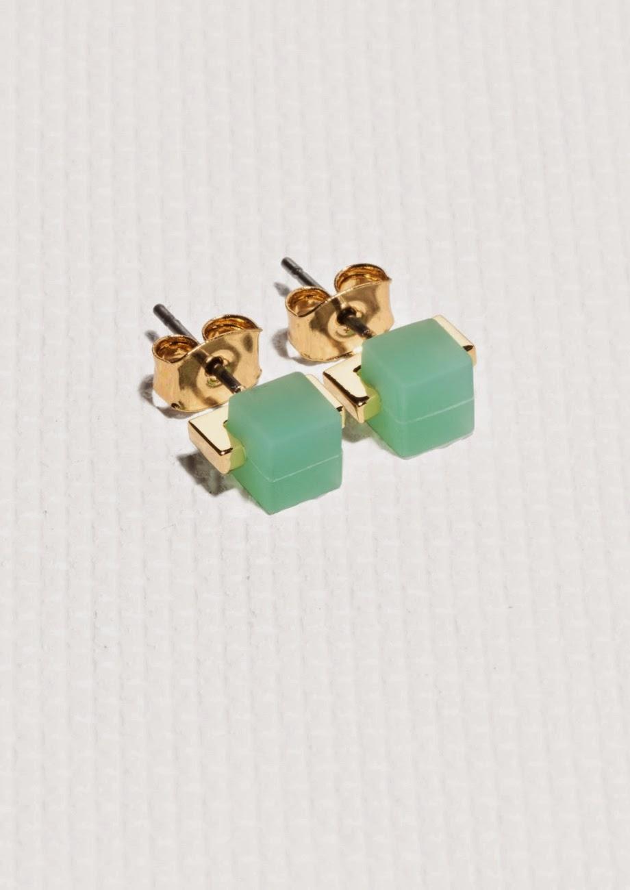 cube earrings, green cube earrings,