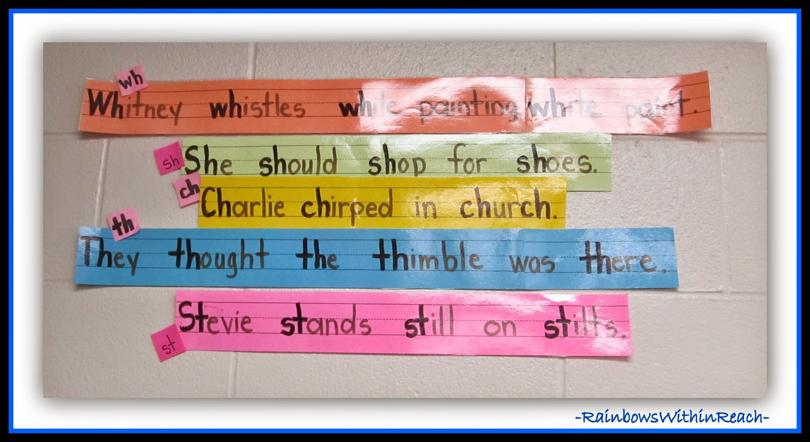 Tongue Twisters on Sentence Strips at RainbowsWithinReach