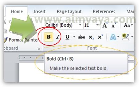 Gambar: Contoh tampilan tooltips/hint  tulisan tebal (bold) di Microsoft Word