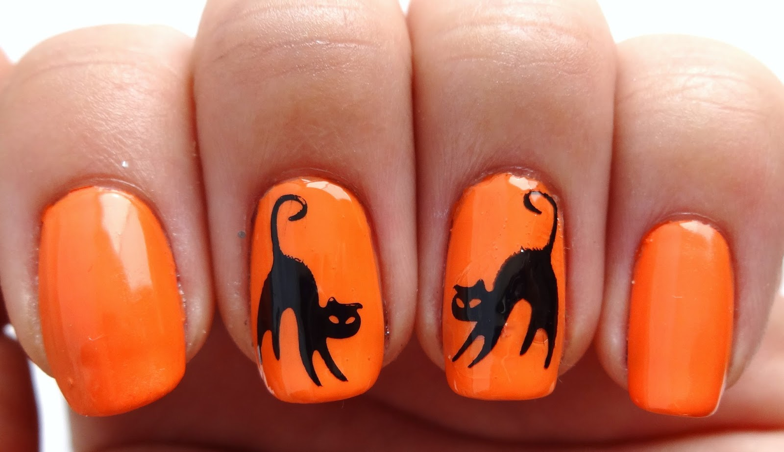 Stamped Black Cat Nails