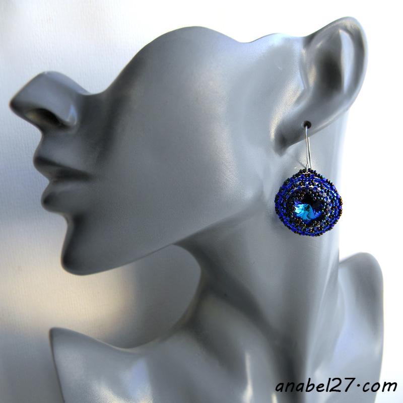 Тёмно-синие серьги с кристаллами Сваровски - 248 / 365