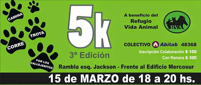 5k a beneficio del Refugio Vida Animal (Rambla de Montevideo, 15/mar/2015)