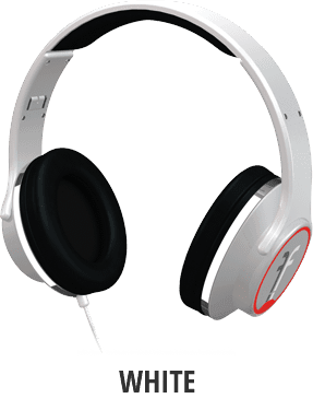 Flips Audio headphones White / Racing Red / Chrome Accents by K.Mac Music