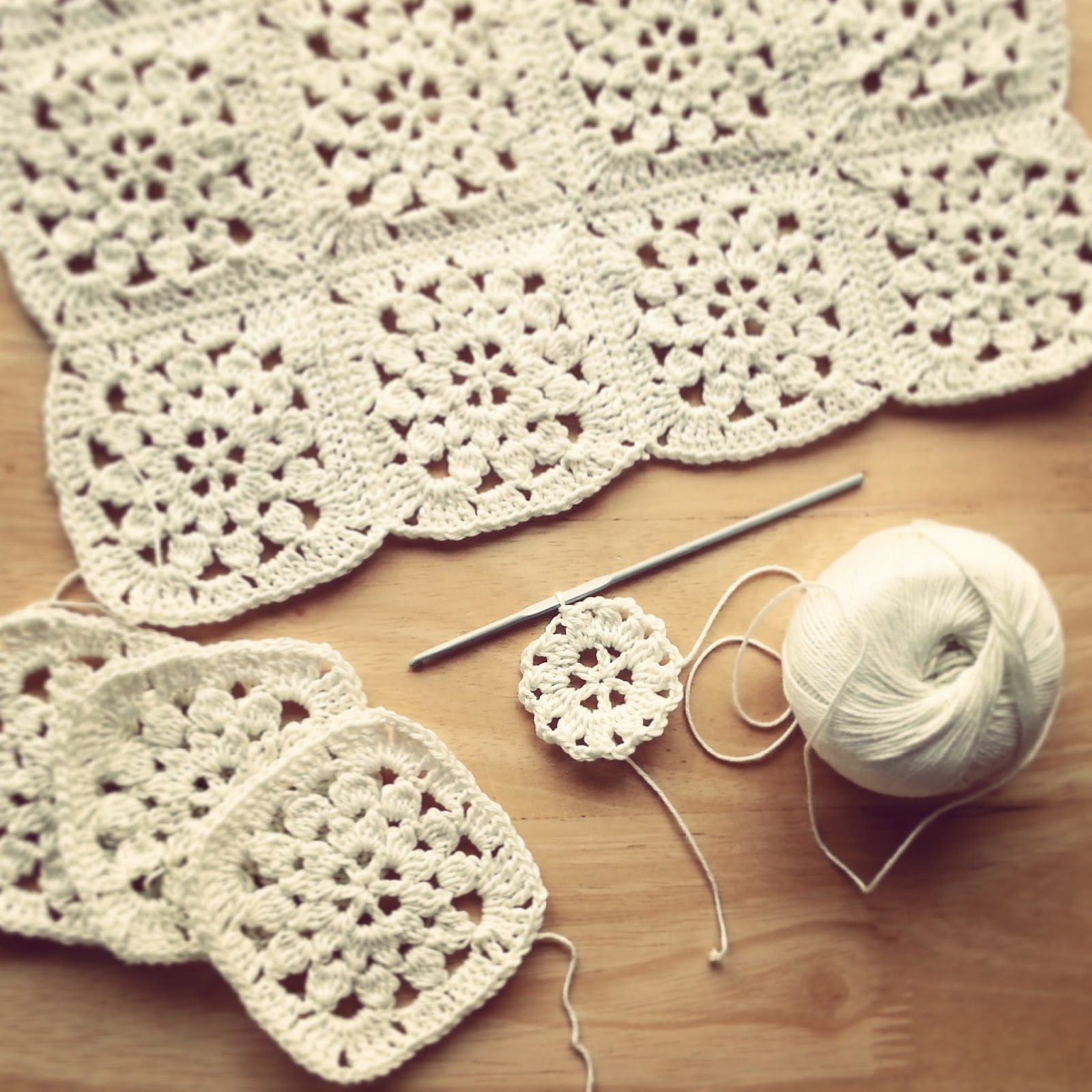 Lavender and Wild Rose: Monochrome and colour crochet