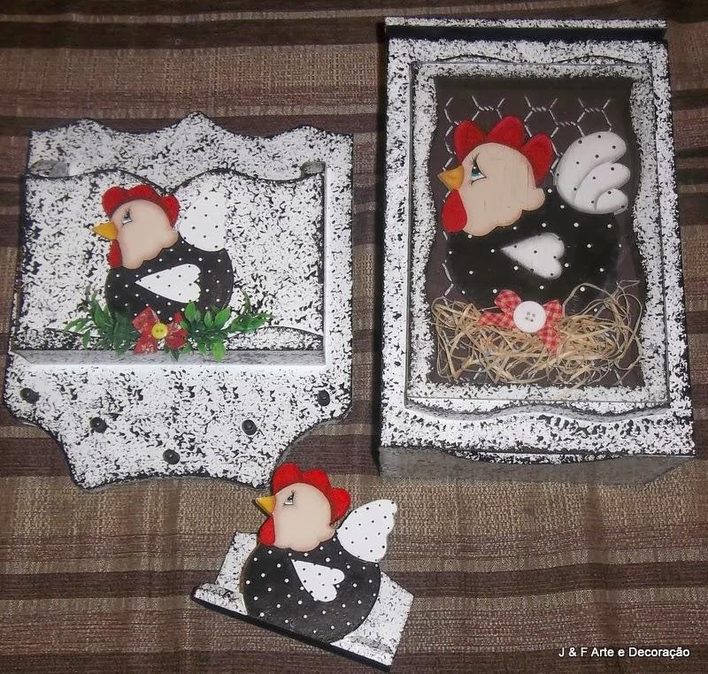 """kit decoracao cozinha : kit decoracao cozinha:Kit cozinha MDF """"Galinha"""" Branco esponjado preto"""