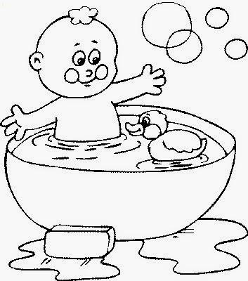 Colorear niño bañandose con su patito de hule