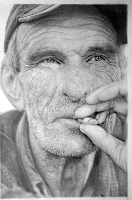 hyper-realistic graphite drawing of an old man smoking cigarette