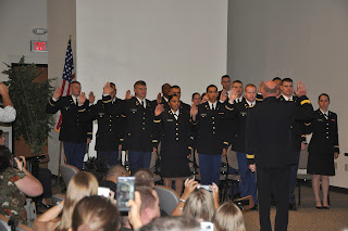 ROTC cadets are sworn in as commissioned Army officers at SHSU.