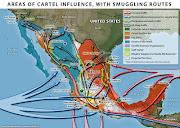 Situación de los carteles de México, a mediados de 2012 (drug routes )