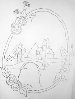 Riscos desenhos de Paisagens para pintura em tecido