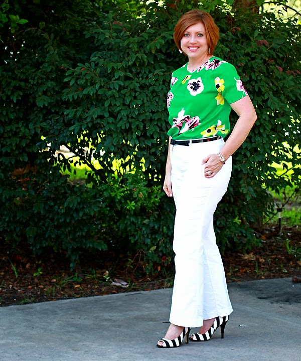 floral top with striped pumps