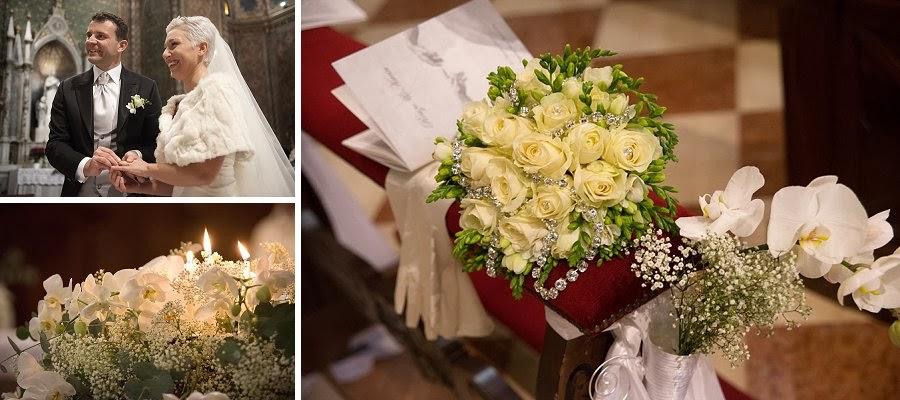 Scambio degli anelli, fiori e decorazioni in chiesa