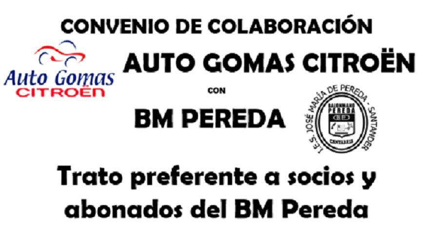 Convenio de colaboración AUTO GOMAS CITROËN con BM PEREDA.
