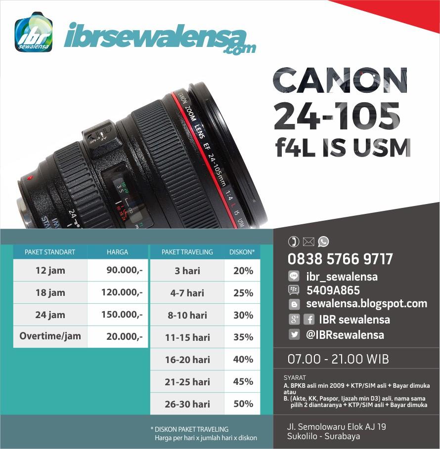 Canon 24-105 f4 L IS USM Surabaya Harga Sewa Rental Lensa Kamera