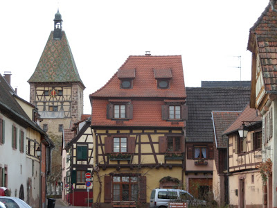 Bergheim town square and clock tower