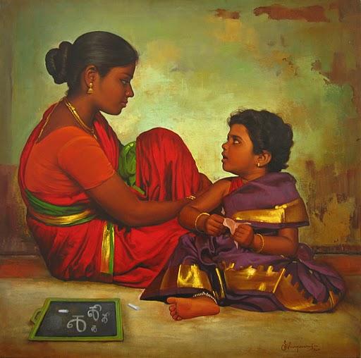 Il mondo di mary antony i dipinti realistici di s elayaraja for Teaching kids to paint on canvas
