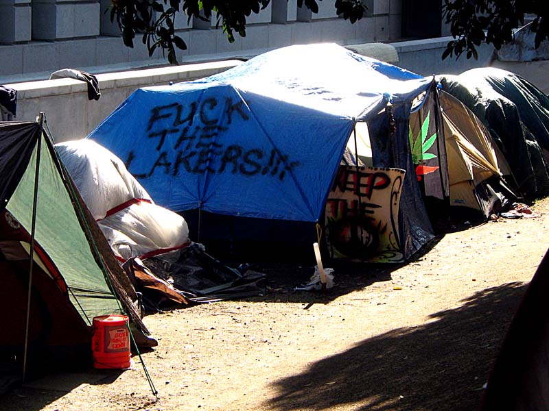 Occupy Los Angeles - sign: Fuck the Lakers
