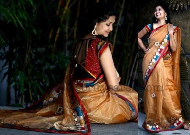 Tissue Banaras Net Patch Work Sari